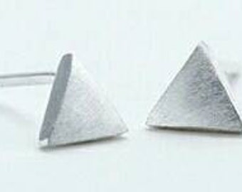 Silver sparkly triangle, pyramid, earrings