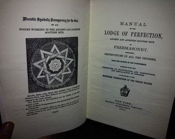 Manual of LODGE of Perfection Ancient and accepted Scottish Rite of FREEMASONRY - New York - 1871. REPLICA
