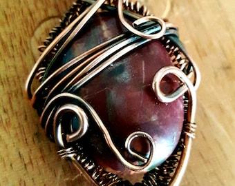 Copper Wrapped Picasso Jasper Pendant