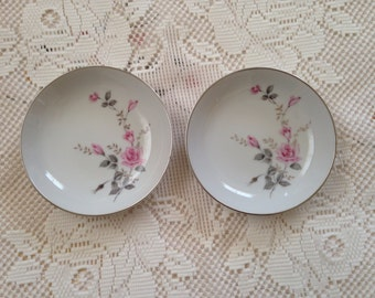Castlecourt Rose Glow Berry Bowls, Vintage Berry Bowls, Vintage Dessert Bowls, China Berry Bowls, Pink Roses, Made In Japan