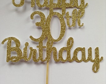 30th Birthday Cake Topper, Sparkly Gold Cake Topper, Birthday Party Decor