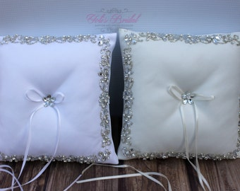 Ivory or White Ring Pillow with  Crystals and Sparkling Beads
