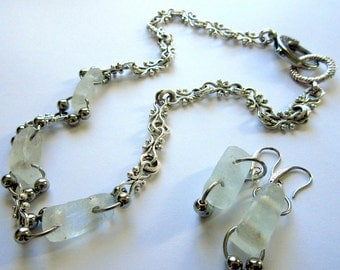 Antiqued Silver Charm Chain with Matching Earrings, Recycled African Glass, Charm Chain