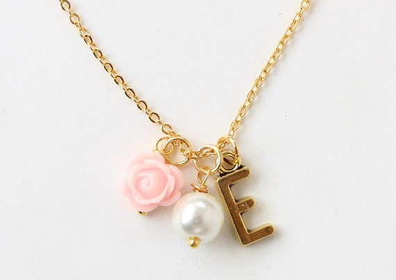 gold flower girl necklace personalized flower girl necklace