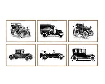 Cars Art Print SET of 6. car print set, car prints, black and white, kids car art, vintage car prints, vintage car poster, antique cars art