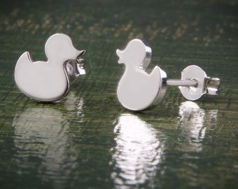 Duck Earrings, Silver Studs, Animal Earrings, Cute Earrings, Solid Gold Duck Earrings
