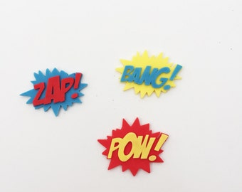 Edible Set of 3 Super Hero Speech Cake Plaques. Ready for immediate dispatch