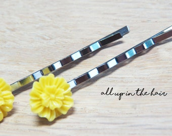 Yellow Mum Bobby Pins - Yellow Flower Bobby Pins