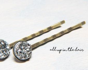 Silver Druzy Bobby Pins - Silver Druzy Hair Pins - Silver Bobby Pins