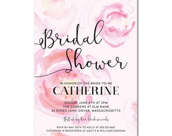 Bridal Shower 5x7 Invitation with hand-painted roses - Blushing Blooms - Printable and Personalized