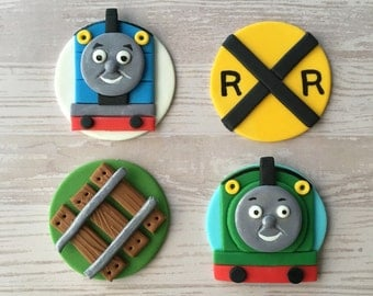 12 Thomas the Train Fondant Cupcake Toppers (Thomas, Percy, Railroad Track, and Railroad Sign)