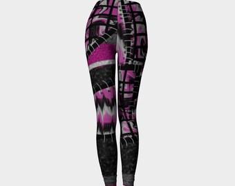 Patchwork leggings, faux patchwork yoga leggings, pink leggings, punk leggings by Felicianation Ink