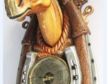 Vintage Retro mid century 60s Kitsch Plastic Horse Head Barometer Wall Plaque