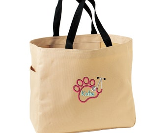 Vet Tech Paw Stethoscope Tote Bag.  Embroidered Vet Tech Tote. Veterinarian Tote Bag. Veterinarian Gift. Paw Stethoscope.  SM-B0750