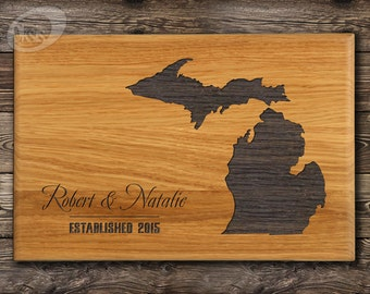 Michigan Personalized Cutting Board, State Love, Wedding Gift, Custom Engraving,  Kitchen Decor Shower, State Cutting Board, State Love