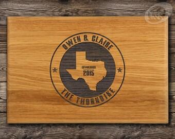 Texas Gift, Custom Cutting Board, Bar Board, Wood Cheese Board, USA Home State Engraved, Anniversary gift, Wedding, Bridal Shower Gift