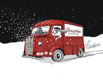 Citroen H - dogs make a special Christmas delivery - downloadable artwork for a Christmas card