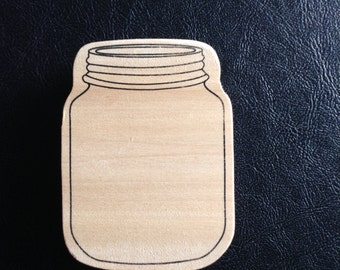 Jar Rubber Stamp on Wood Block, Mason Jar Rubber Stamp, Gift Tag Ideas, Card Making, Scrapbooking