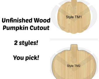 Unfinished Wood Pumpkin Laser Cutout, Wreath Accent, Door Hanger, Ready to Paint & Personalize, Various Sizes and Shapes