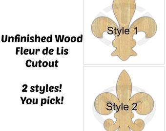 Unfinished Wood Fleur de Lis Laser Cutout, Home Decor, French decor, Various Sizes, Wreath accent, 2 styles