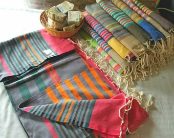 Tunisian Hand-Woven 100% Natural Cotton Scarf,Shawl,Tablecloth and or Beach Towel