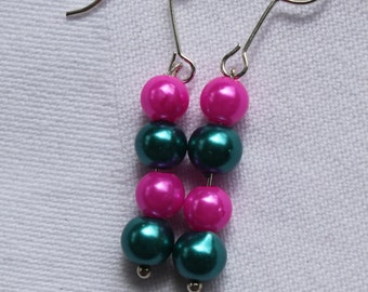 Earrings with blue/pink beads