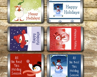Hershey Mini Candy Bar Wrappers - Christmas Candy Wrapper, Snowman Candy Wrapper, Christmas Wrap, Christmas Gift Tag, Teacher's Gift