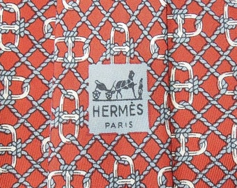 Hermes Tie Pure Twill Silk Chaine d'Ancre Rope Link Pattern On Brown Vintage Designer Dress Necktie Made In France 663 OA