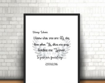 Angel Wing Quote Print - I know you are with me ... - A4 Angel Wing Themed Printed Quote unframed - In Memory Of Print Personalised