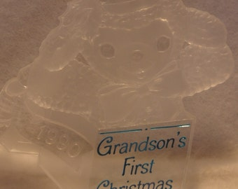 1990 Hallmark Vintage Keepsake Christmas Ornament Grandson's Fist 1st Christmas NIB