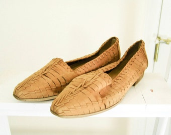 Brown Cut Out Flats - Ladies Loafers - Vintage Leather Shoes