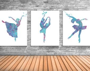 Ballerina, Ballet Art, Dance Studio Decor, Ballerina Watercolor Painting, Set of Three Limited Edition Prints - DS6