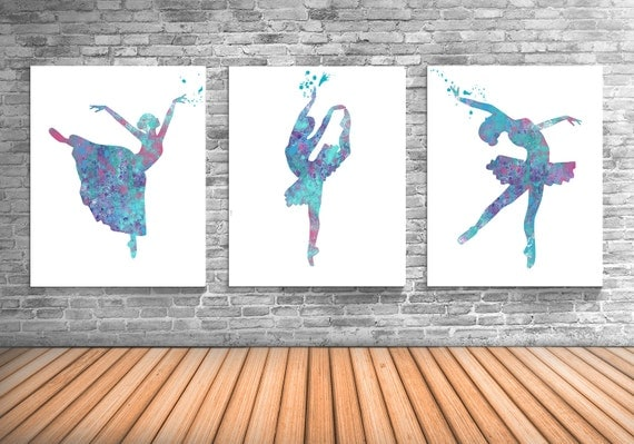 Ballerina, Ballet Art, Dance Studio Decor, Ballerina Watercolor Painting, Set of Three Limited Edition Prints - DS6