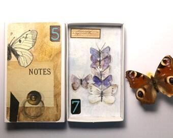 Art box:petit diorama, peinture originale réalisée dans une boîte d'allumette.Assemblage matchbox.Papillons cabinet de curiosités .