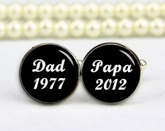 dad cufflinks, papa cufflinks, husband, custom any text, background, photo, personalized cufflinks, custom wedding cufflink, groom cufflinks