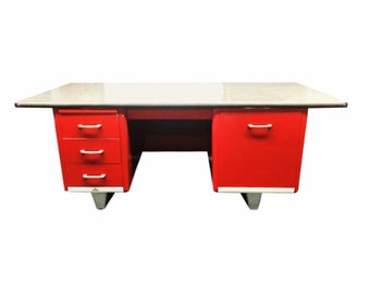 ASE Tanker  Mid century Steel Desk Red