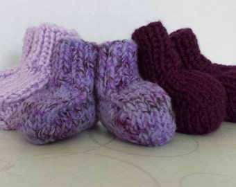 Set of 3 Hand Knitted Newborn Baby Booties in Purple Shades