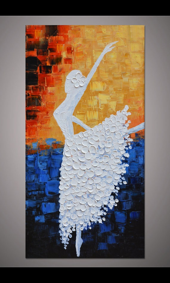 Hand painted dancing ballerina painting wall art picture for Wall art painting