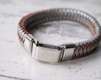 ID Bracelet - Men's ID Bracelet - Men's Leather Bracelet - Men's Jewelry - Steel Grey