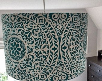 New! 30cm Drum Lampshade in beautiful Richloom R Gallery Tachenda Teal Cotton Linen Mix Fabric. Table Lamp Ceiling Shade.