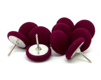 10 Small Purple Push Pins, Purple Fabric Push Pins, Purple Drawing Pins, Purple Thumb Tacks
