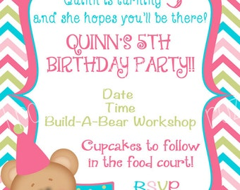 Bear Digital Birthday Invitation