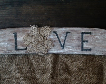 """Antique chair back handpainted """"love"""""""
