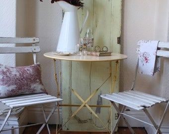Pretty Vintage French Folding Metal Garden Table in Primrose Yellow