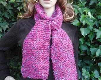 Hand-Knitted Pink/Blue (Merriweather) Winter Scarf