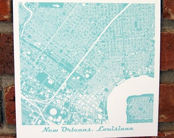 New Orleans Map Art Print, Louisiana, More Colors Available!