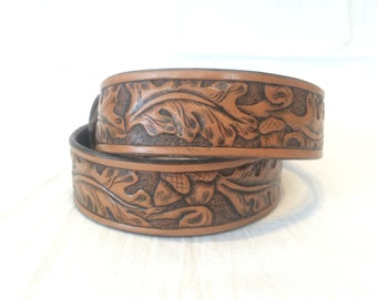 Hand-tooled Western Oak Leaf Leather Belt 1 1/2 inch.