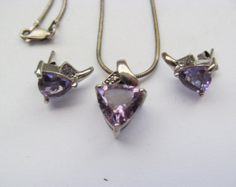 Sterling Silver / Amethyst Necklace and Earring Set