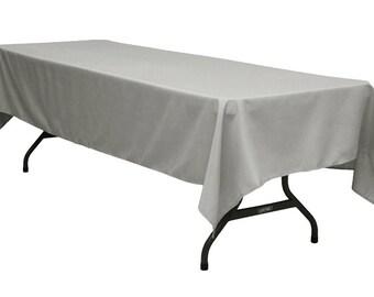 60 x 126 inch Rectangular Gray Tablecloth Polyester | Wedding Tablecloth