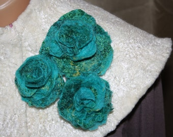 felted merino wool rose brooch 3 in 1